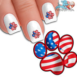 Modern Patriotic Paw Print - Nail Art Decals (Now! 50% more FREE)