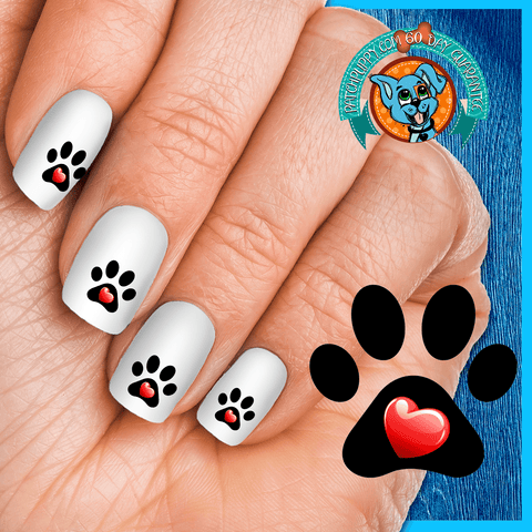 My Heart Paw Print - Nail Art Decals (Now! 50% more FREE)