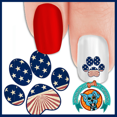 Old Fashion Patriotic Paw Print - Nail Art Decals (Now! 50% more FREE)