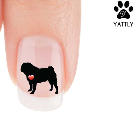 My Heart Pug (standing) Nail Art Decals (Now 50% More FREE)