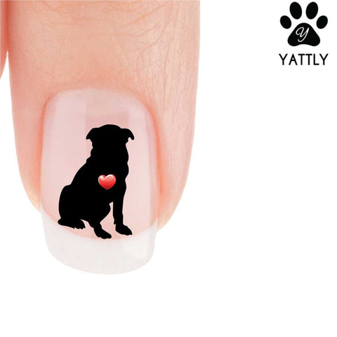 My Heart Pug (Sitting) Nail Art Decals (Now 50% More FREE)