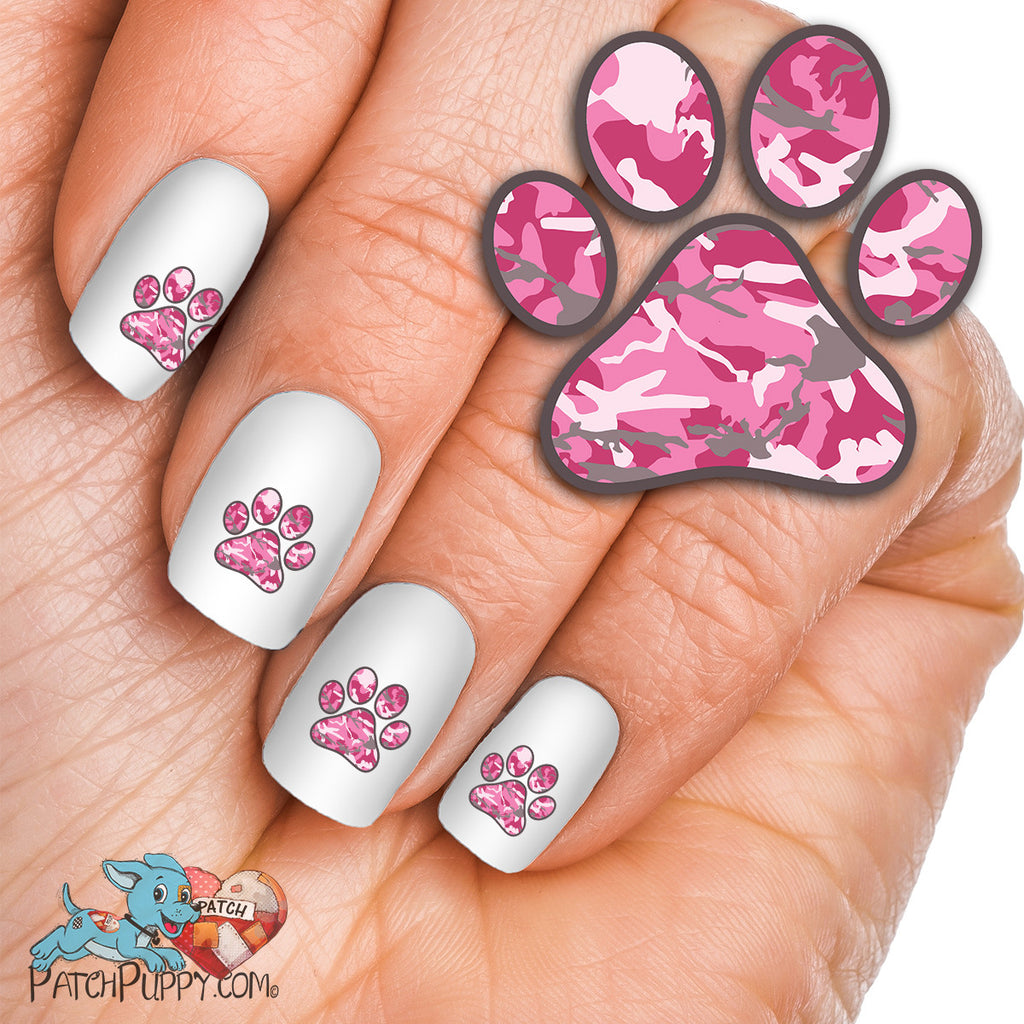 Pink Camo Paw Print - Nail Art Decals (Now! 50% more FREE) - Pink Camo Paw Print - Nail Art Decals (Now! 50% More FREE) – Patch Puppy