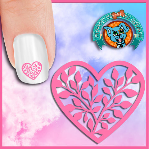 Pink Vine Heart Nail Art Decals (Now! 50% more FREE)