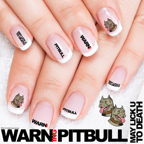 Pitbulls May Lick You to Death - Nail Art Decals (Now! 50% more FREE)
