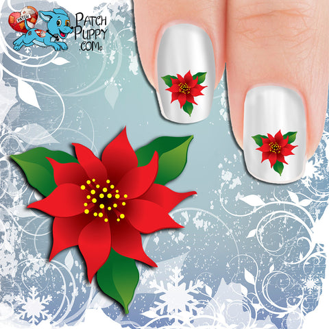 Poinsettia Nail Art Decals (Now! 50% more FREE)