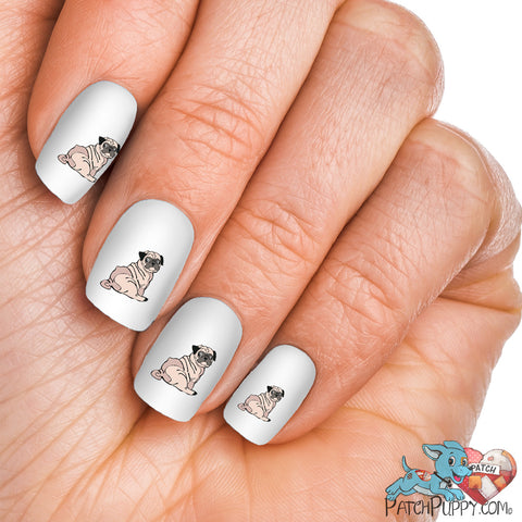 Pug Sketchy Side Sitting Nail Art