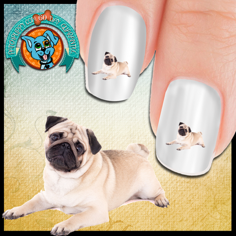 Pug Head Tilt Nail Art Decals (NOW 50% MORE FREE)