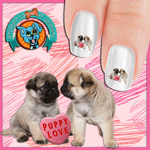 Puppy Love Pugs with Candy Heart Nail Art Decals (Now! 50% more FREE)