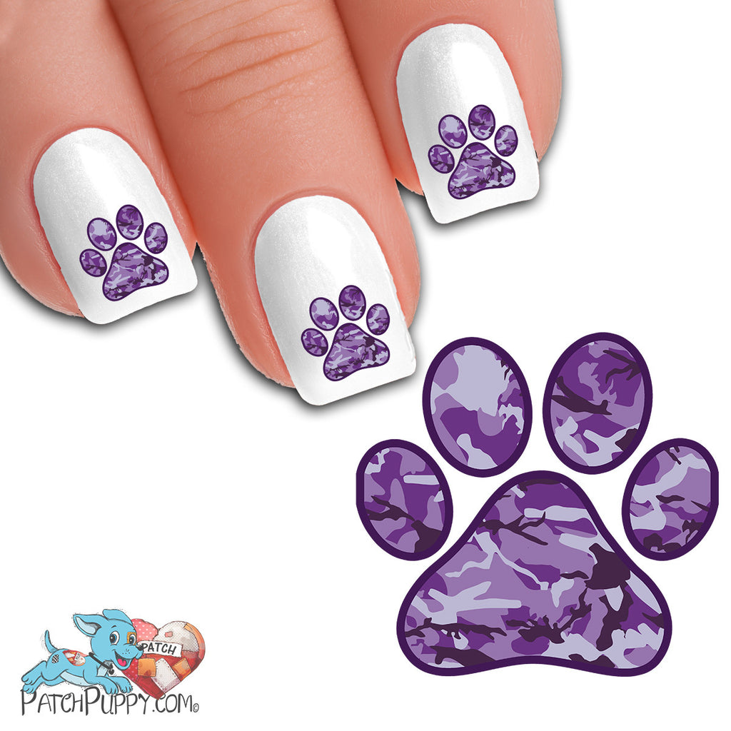 Purple Camo Paw Print - Nail Art Decals (Now! 50% more FREE) – Patch ...