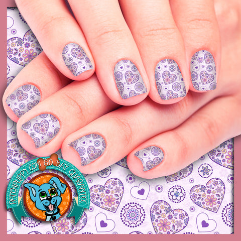 Purple Flower Hearts Valentines Nail Wraps