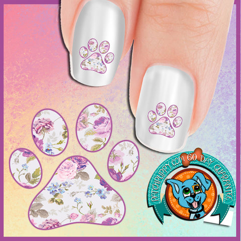 Purple Rose Pawprint Nail Art Decals (Now! 50% more FREE)