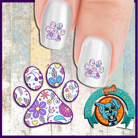Purple Flower Pawprint Nail Art Decals (Now! 50% more FREE)