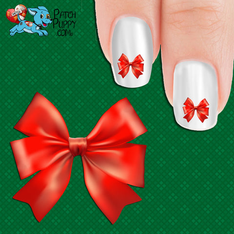 Red Bow Nail Art Decals (Now! 50% more FREE)