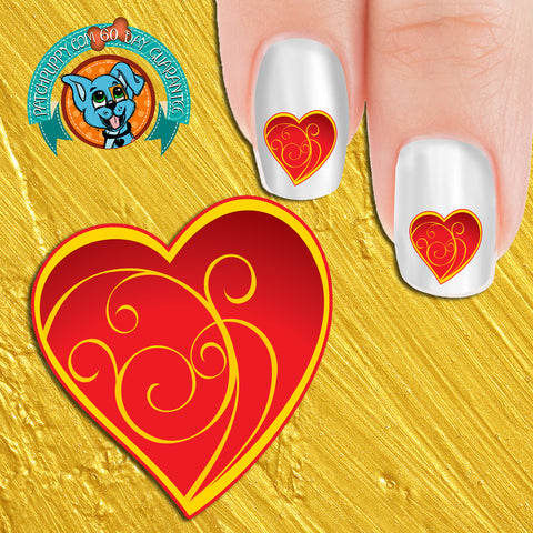 Red Filigree Heart Nail Art Decals (Now! 50% more FREE)