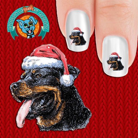 Rottweiler in Santa Hat (drawing) Nail Art Decals (Now! 50% more FREE)