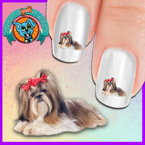Shih Tzu with Bows Nail Art ( NOW 50% MORE FREE)