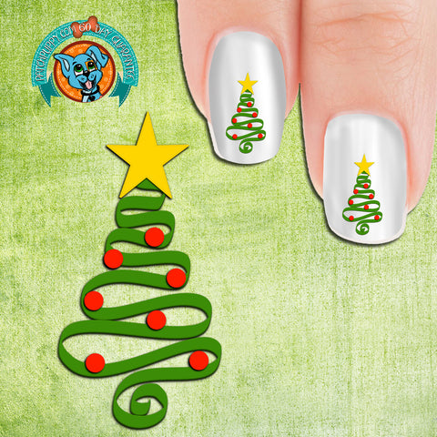 Squiggle Christmas Tree Nail Art Decals (Now 50% more free)