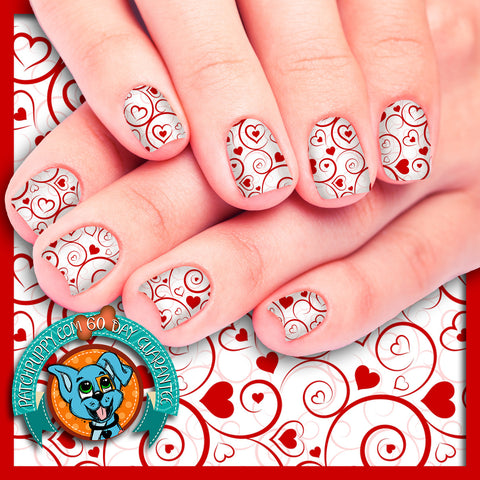 Swirls and Hearts Valentines Nail Wraps