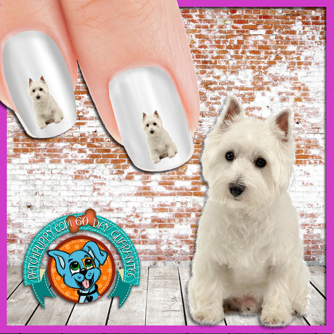 West Highland White Terrier Sitting Nail Art Decals (Now! 50% more FREE)