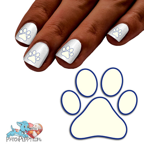 White Team Spirit Paw Print - Nail Art Decals (Now! 50% more FREE)