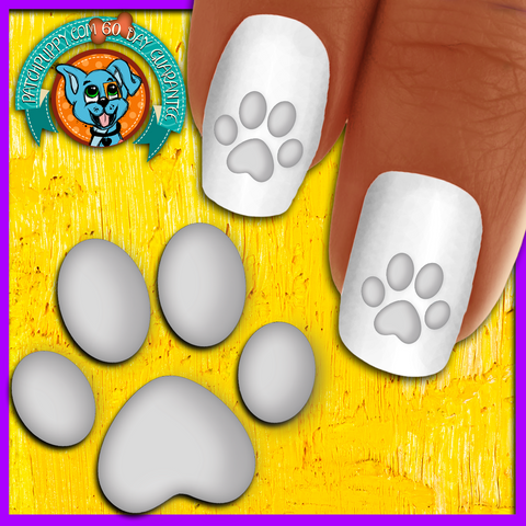 White Shadow Paw Print - Nail Art Decals (Now! 50% more FREE)