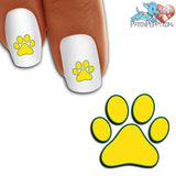 Yellow Team Spirit Paw Print - Nail Art Decals (Now! 50% more FREE)