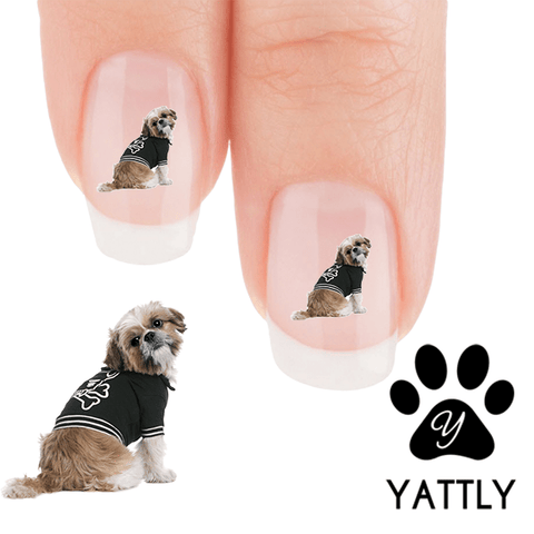 Going to the Game Shih Tzu Nail Art Decals (Now! 50% more FREE)