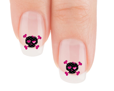 Pink Hearts Skully Nail Art Decals (Now! 50% more FREE)