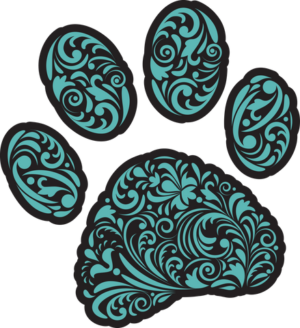 Curly Q Paw Prints (Multiple Color choices) Nail Art Decals (Now! 50% more FREE)