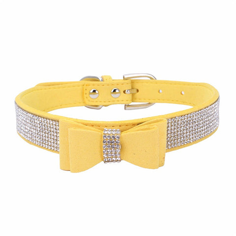 Rhinestones and Bow Dog Collar