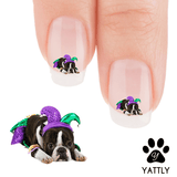 Boston Terriers Ready for Mardi Gras Nail Art Decals (Now 50% More FREE)