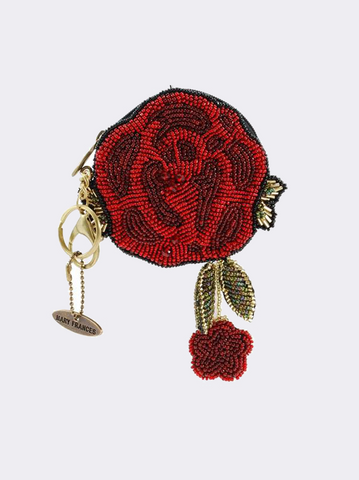 Red Rose Beaded Coin Purse