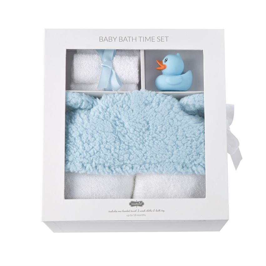 Mud Pie Blue Baby Bath Time Gift Set