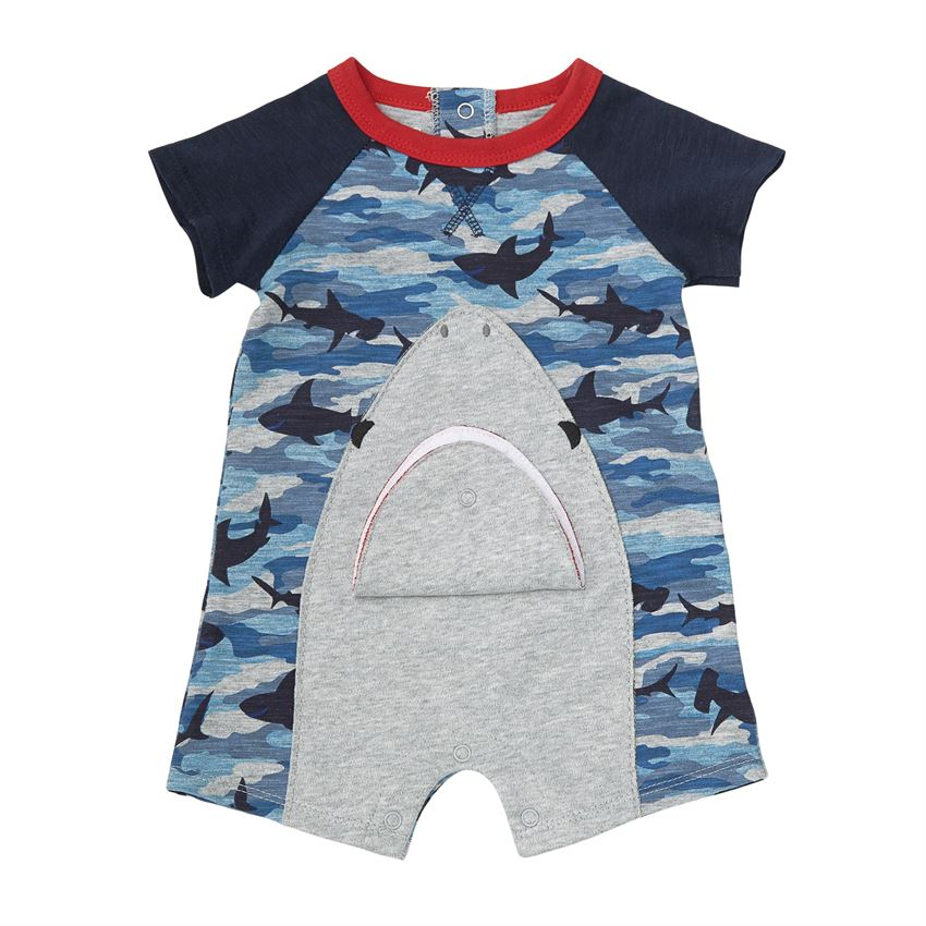 Mud Pie Camo Shark Raglan One Piece