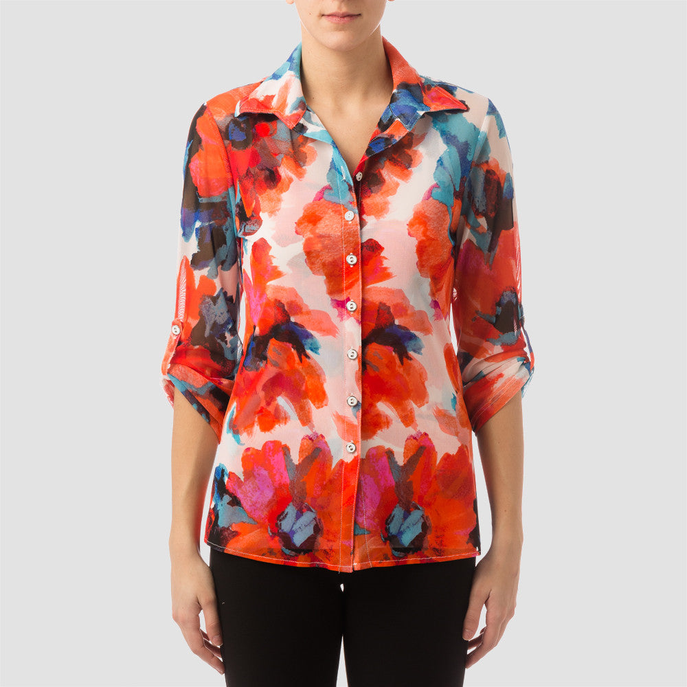 Joseph Ribkoff Floral Button Up Blouse Set - ShopBody.com - 1