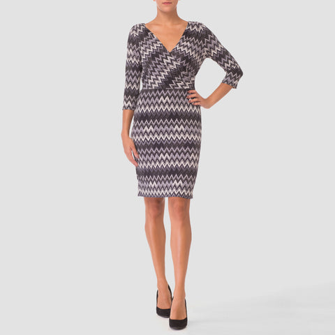 Joseph Ribkoff 3/4 Sleeve Mock Wrap Dress