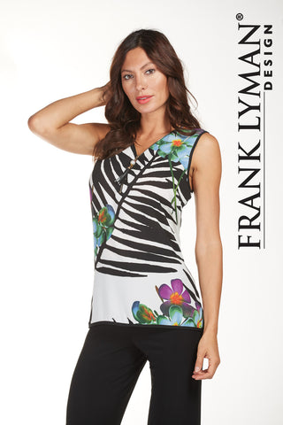 Frank Lyman Accent Zip Print S/L Top