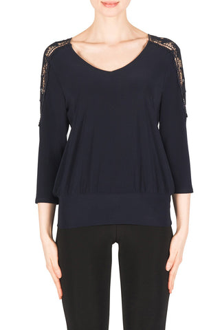 Joseph Ribkoff Crochet Sleeve Top