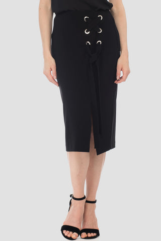 Joseph Ribkoff Grommet Lace Up Skirt