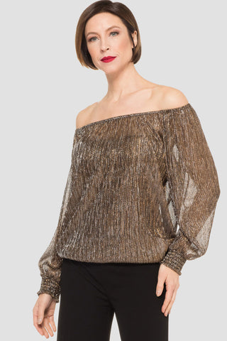 Joseph Ribkoff Off The Shoulder Metallic Top