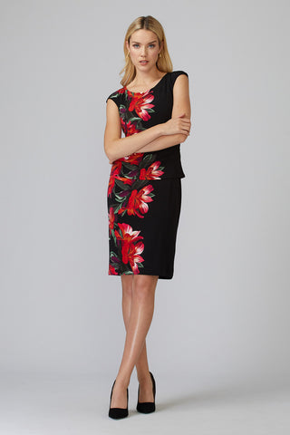 Joseph Ribkoff Floral Cap Sleeve Dress