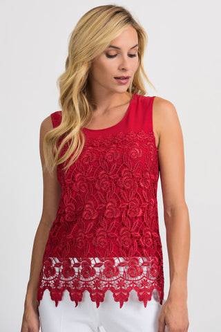 Joseph Ribkoff Red Lace Top