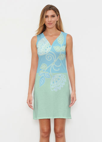 Whimsy Rose Floral Aqua Sleeveless Dress