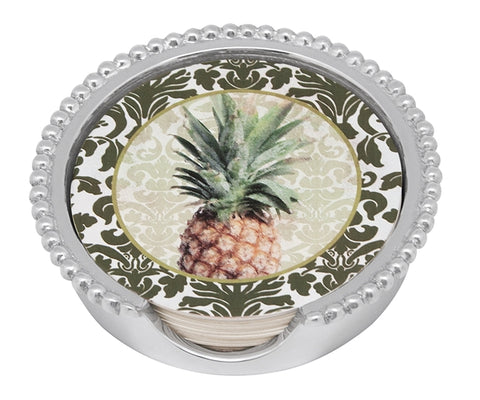 Mariposa Pineapple Beaded Coaster Set