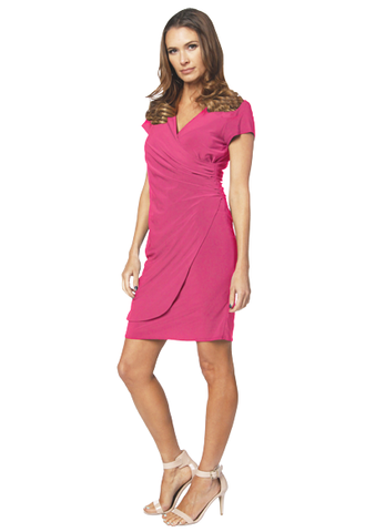 Last Tango S/S V-Neck Wrap Sheath Dress