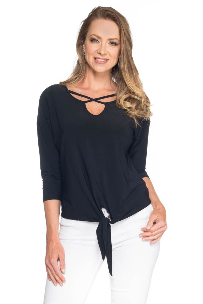 Last Tango 3/4 Sleeve Top With Front Keyhole