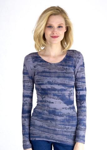 AMB Abstract Camo in Blue Crew Neck Top
