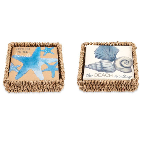 Mud Pie Beach Napkin Holder Set