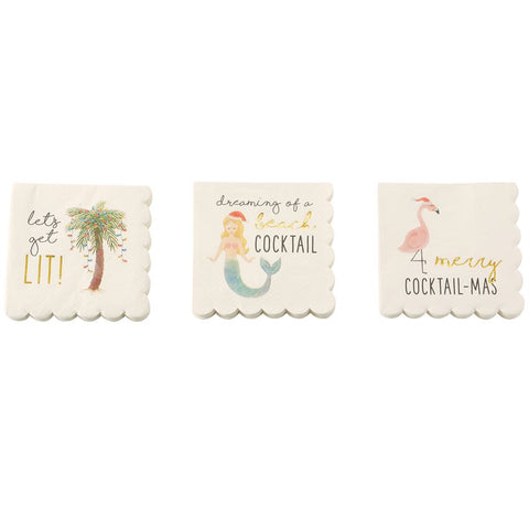 Mud Pie Beach Christmas Napkins
