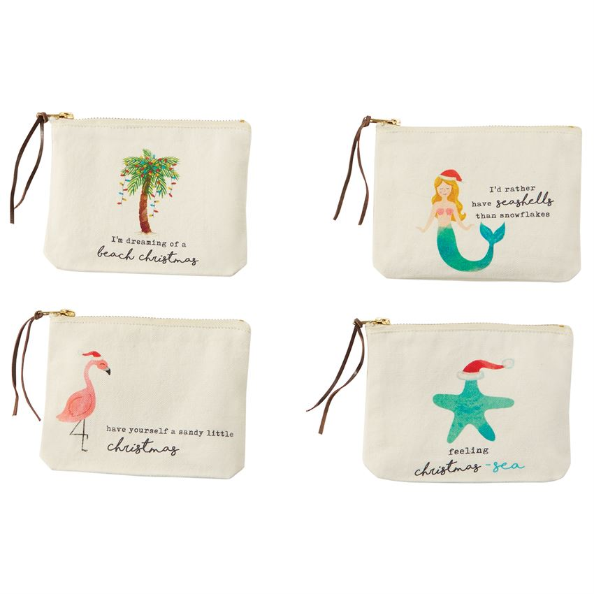 Mud Pie Beach Christmas Pouches